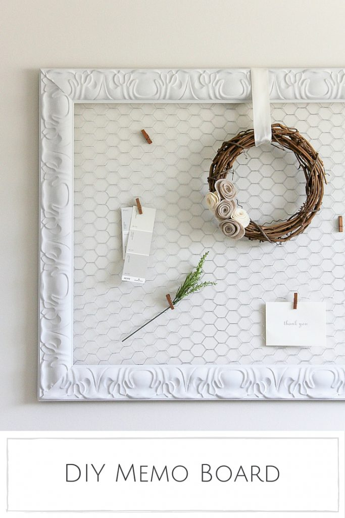 Pretty farmhouse style DIY memo board. Learn how easy it is to turn an old frame into a pretty memo board! Easy chicken wire bulletin board tutorial!