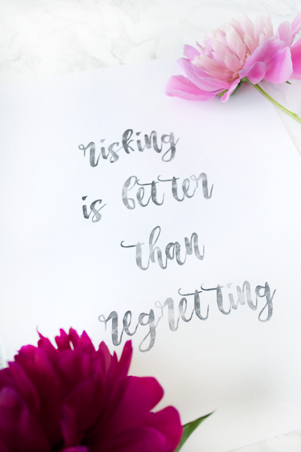 Risking is Better Than Regretting free printable! Love this inspirational print. Pretty free printable art. Love this risking is better than regretting free print!