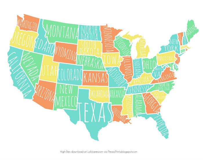 Colorful Usa Map Free Printable Lolly Jane: Colorful Usa Map At Infoasik.co