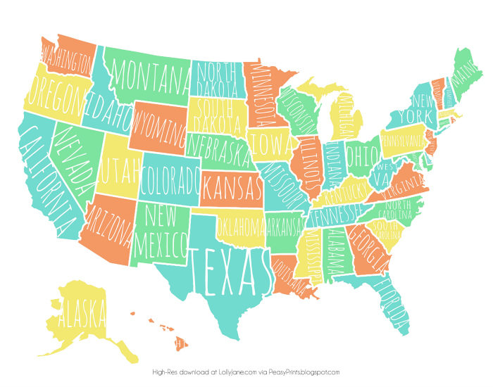 colorful usa map free printable ly jane