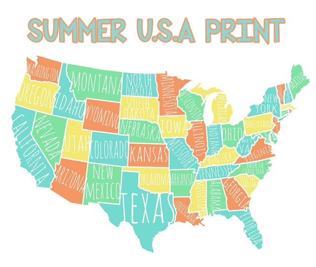 Colorful USA Map Free Printable Lolly Jane - Us map print out