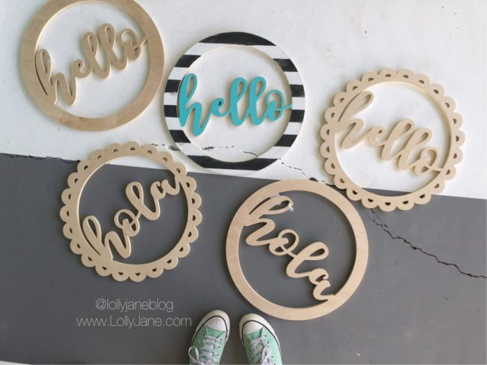 Cute wood wreath cutouts! Darling way to welcome your guests! Love this wood hello wreath!!