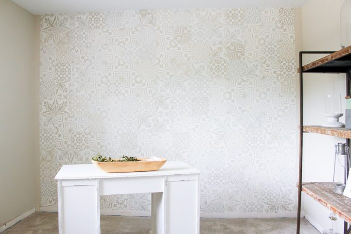 How to Get the Cement Tile Look for Less. Can you believe this is a faux cement wall?? GORGEOUS! |via MakingItInTheMountains.com