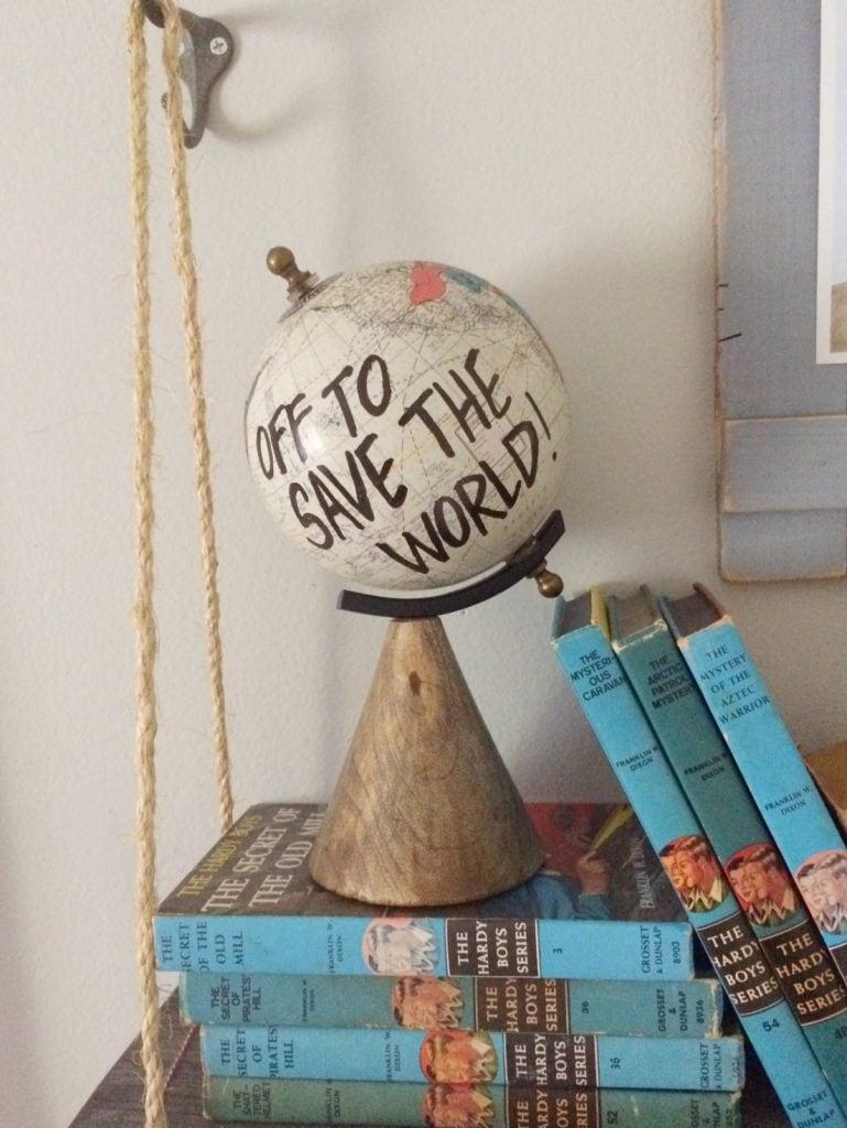 DIY SuperHero Globe... perfect for a boys room, man cave or office!