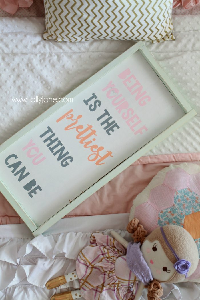 Little girls purple gold bedroom makeover. Easy ideas to pull together little girls room decor. Love this purple bedroom decor ideas. Adore this Being Yourself is the Prettiest Thing You Can Be wood sign! Cute girls room sign idea!