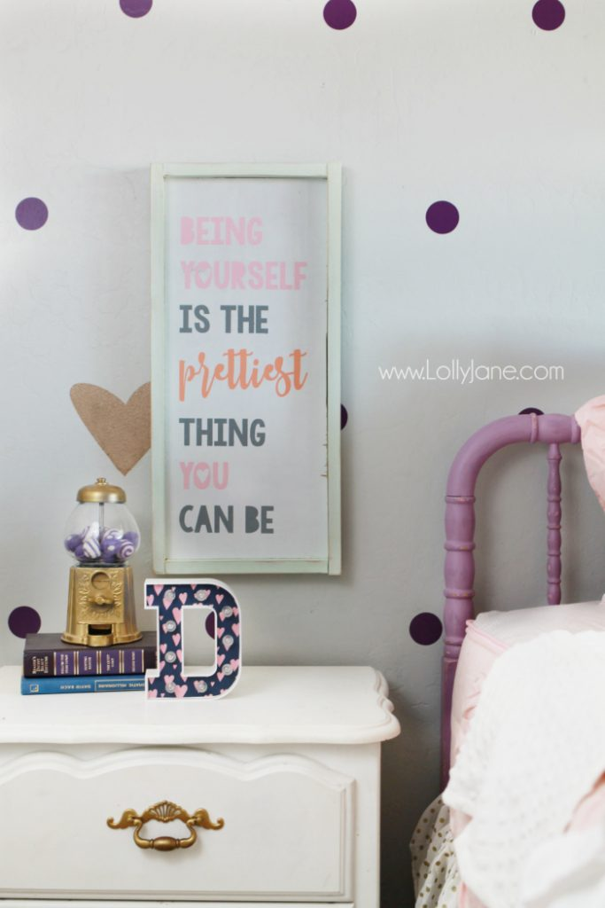 Little girl purple gold bedroom makeover lolly jane for Signs for little girl rooms