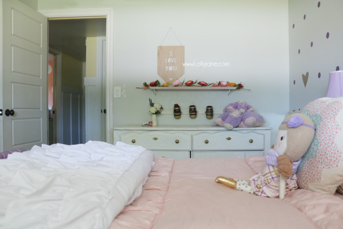 Little Girl Purple Gold Bedroom Makeover Lolly Jane