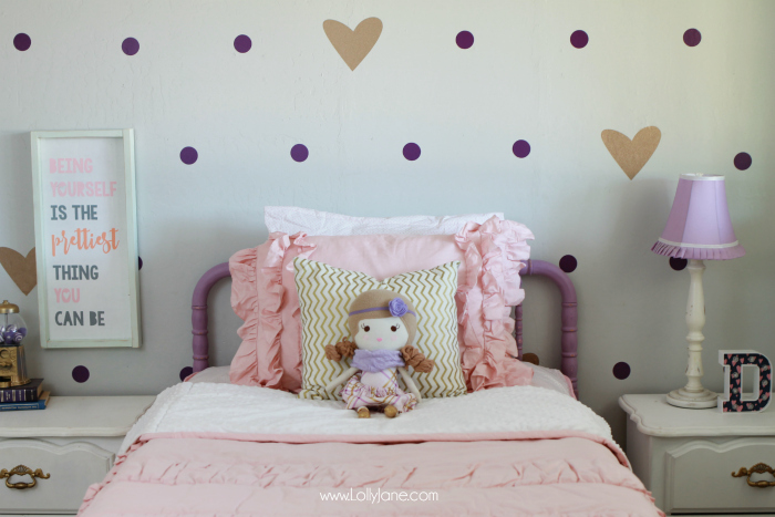 Little girl purple gold bedroom makeover lolly jane for Purple and pink bedroom ideas