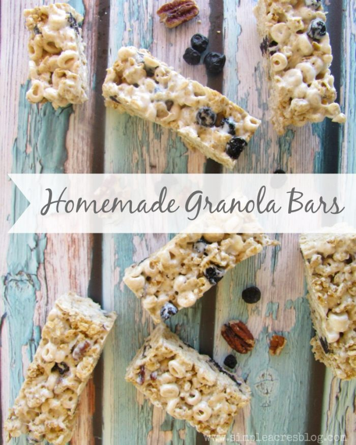 Homemade Granola Bars recipe. Easy and yummy on the go snacks! Great kid snack idea
