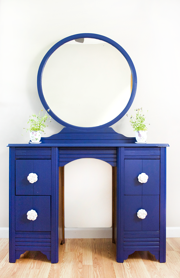 Cobalt blue vanity makeover. Darling dresser makeover!