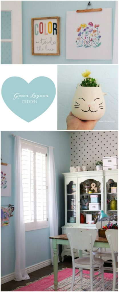 Craft Room Refresh. Love the pretty hue, Green Lagoon from Glidden. Pretty craft room decor ideas!