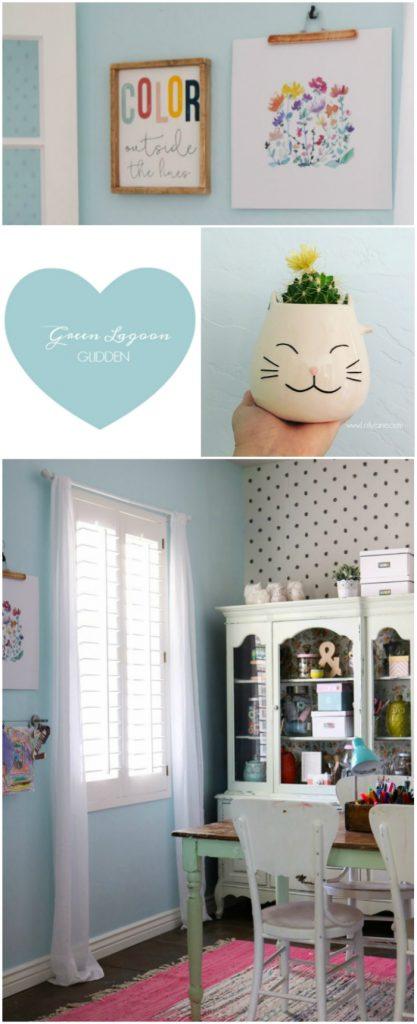 Craft Room Refresh. Love the pretty hue, Green Lagoon from Glidden. Pretty craft room decor ideas!