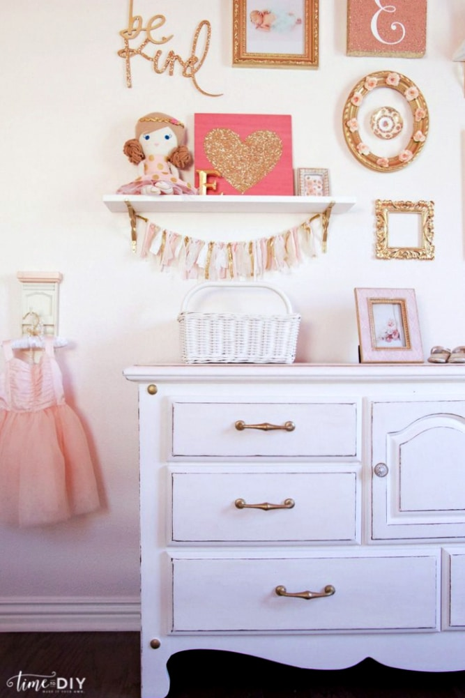 Chippy glam dresser makeover lolly jane for Girls room wall decor