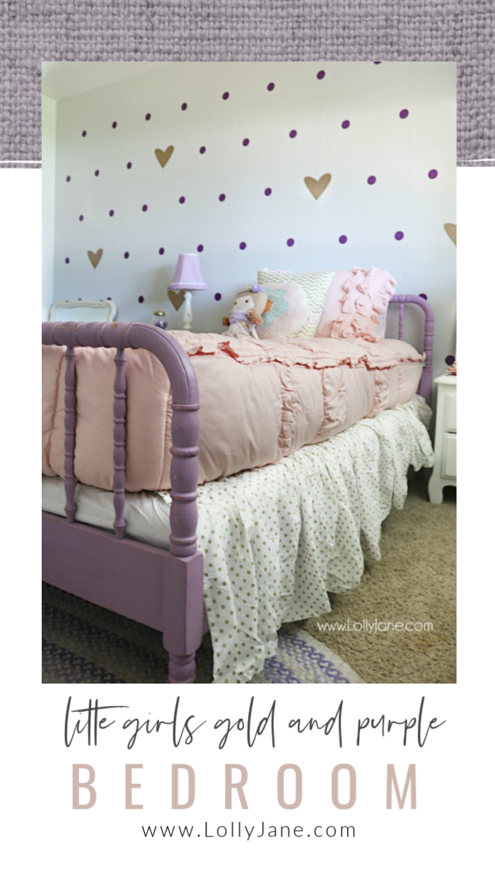 If your little lady loves purple, she'll adore these little girl purple and gold bedroom ideas with vinyl removable polka dots and gold hearts! #girlsbedroom #girlsbedroomideas #littlegirlsbedroom #bedroomdecor #girlsbedding #beddys