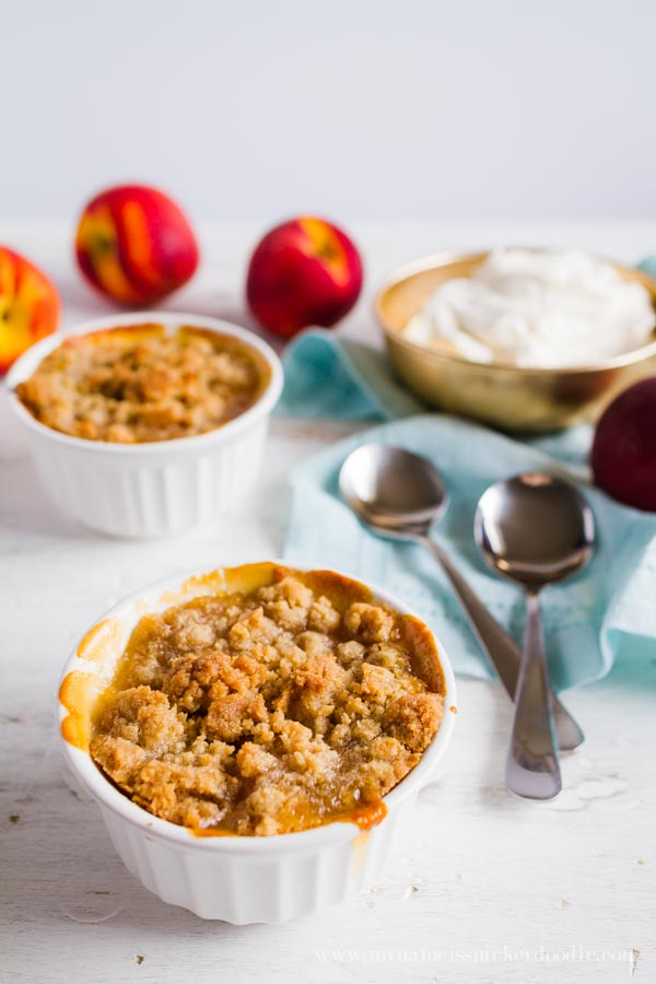 Mini Peach Crisps recipe. SO GOOD! You