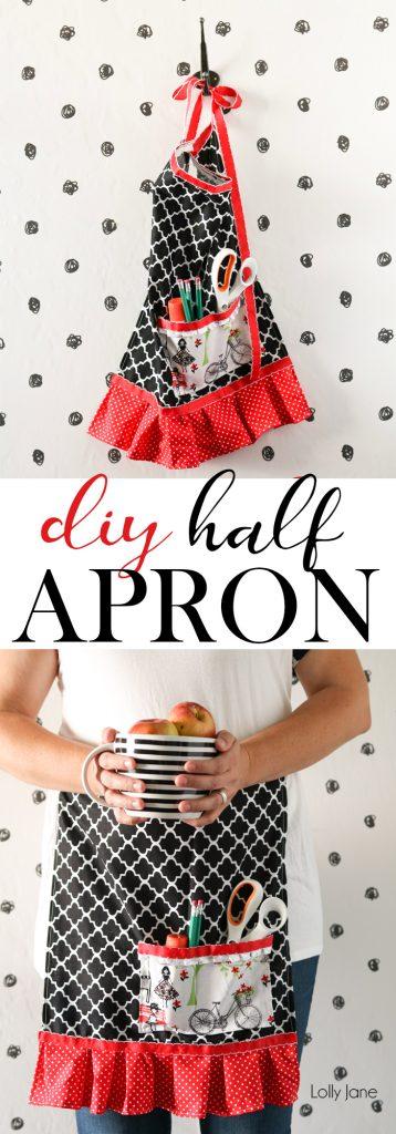 Cute and Super EASY Half Apron tutorial!