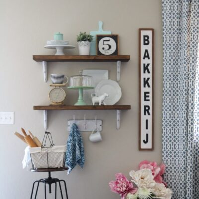 farmhouse chic dining room shelves