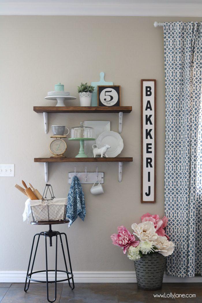 Farmhouse Chic Dining Room Shelf decorating ideas... love!