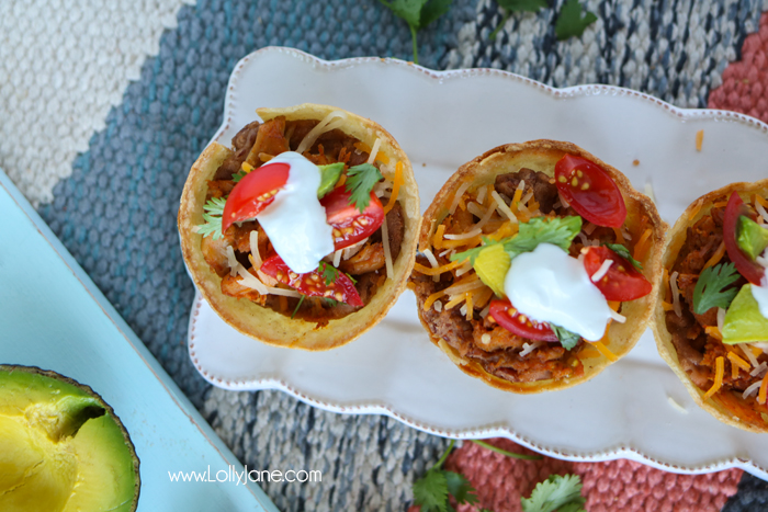 Quick & Easy TACO CUPS.. so good! Made in under an hour and great for kid size or pile them up for adults!
