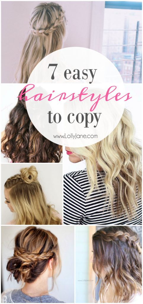 7 easy hairstyles to copy! Learn how to get nautral beach waves plus 6 easy to braid tutorials!