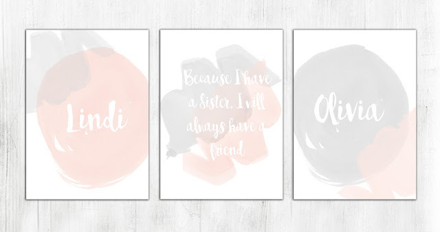 """Cute! """"Because I have a sister I have a friend"""" print... would love this in my daughter's room!"""