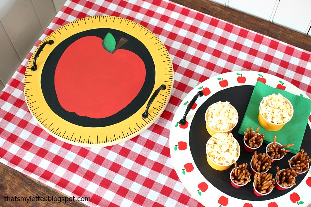 DIY Back-To-School Wooden Serving Tray... love the hand painted apples and ruler!