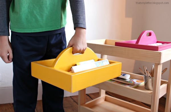 DIY Wooden Art Cart... perfect for homework station or kids storage!