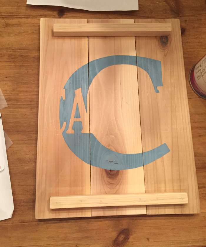 DIY Cedar Name Plaque. Super cute for wall art or door hanger and FAST to make and personalize!