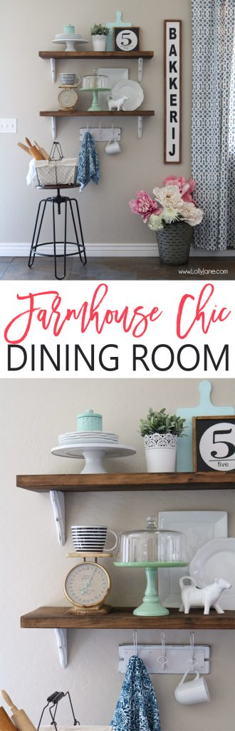 Farmhouse Chic Dining Room Shelf Decorating Ideas Love