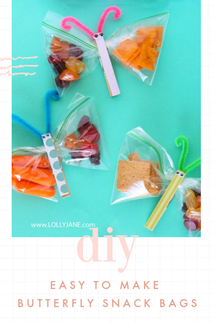 Such an easy way to make kids butterfly snack bags! Easy to make, fun to eat! #kidssnacks #healthykidssnacks #kidssnackideas #lunchideasforkids #howtomakebutterflysnackbags