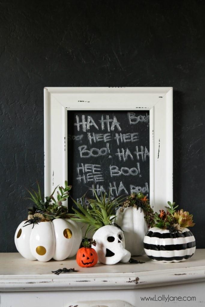DIY Halloween Pumpkin Succulent Planters. FAUX pumpkins + succulents, low maintenance and hassle free on your mantel or porch! CUTE!!!