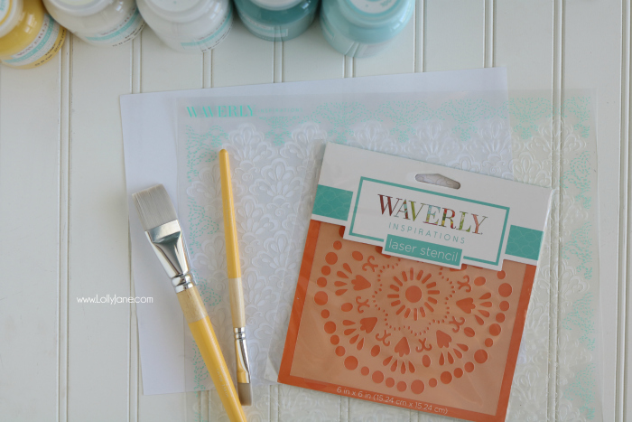 Love these Waverly paints! Check out the easy DIY Stenciled Painted Sign, cute!