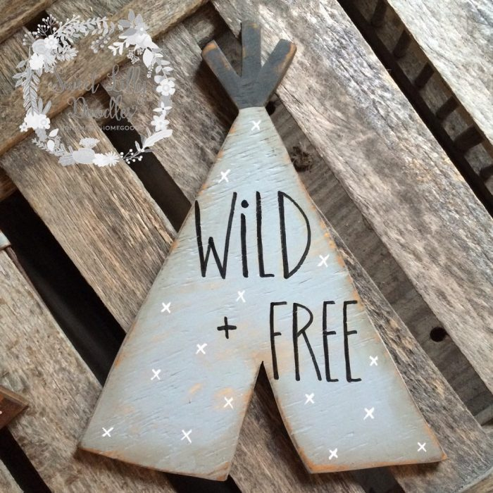 Loving this Wild and Free TeePee sign, so cute! Love this etsy shop!