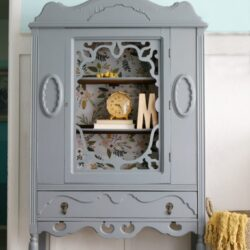 gray hutch floral paper makeover