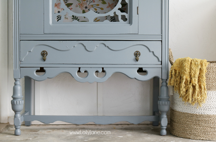 Gorgeous grey hutch with floral paper makeover. Such a dramatic before after furniture makeover. Love this grey hutch with pretty floral paper!