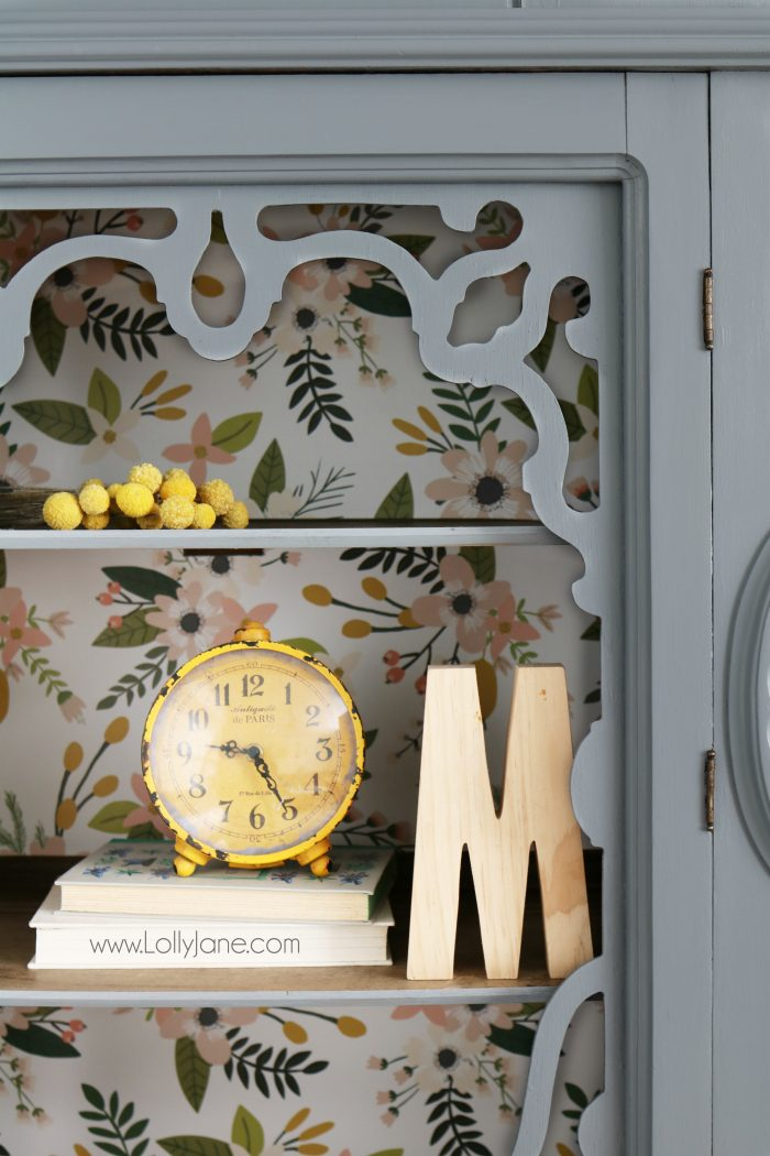 Gorgeous gray hutch with floral paper makeover. Such a dramatic before after furniture makeover.