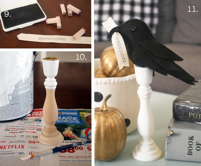 Poe-Inspired Raven Halloween Decor. Easy raven felt Halloween craft. Love this simple Halloween decor project!
