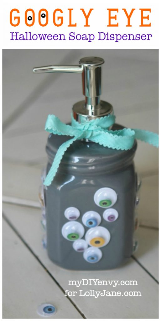 Googly Eye Halloween Soap Dispenser craft, so fun for Halloween! Love this easy Halloween craft idea, such a fun Halloween kids craft or Halloween gift idea!