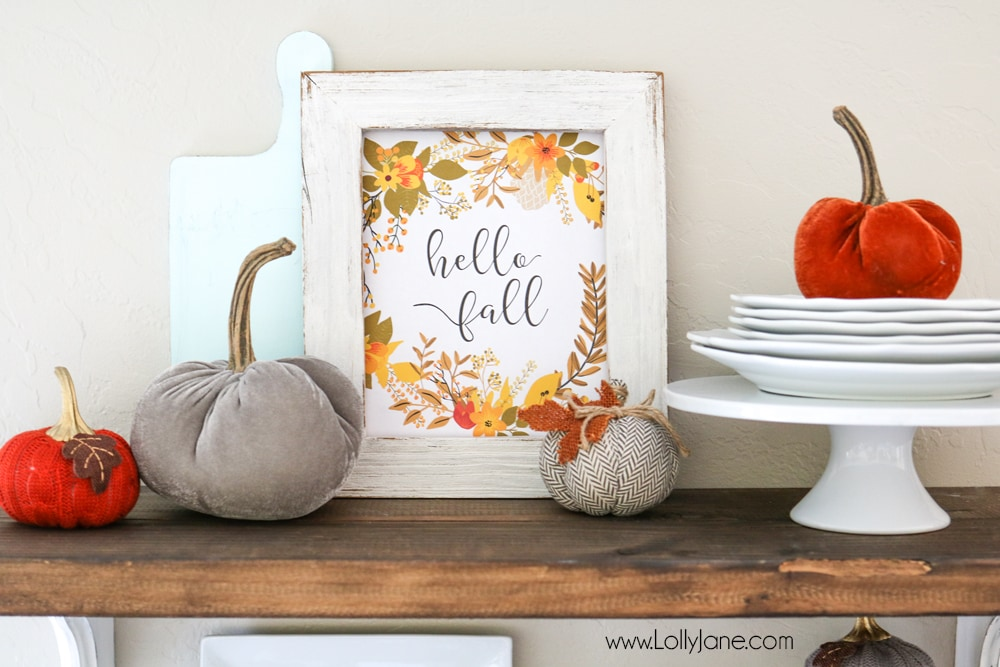 "Gorgeous 3-pack of printable fall art! Choose from ""Hello Fall"", ""Gather"" or ""Thankful, Grateful and Blessed"""