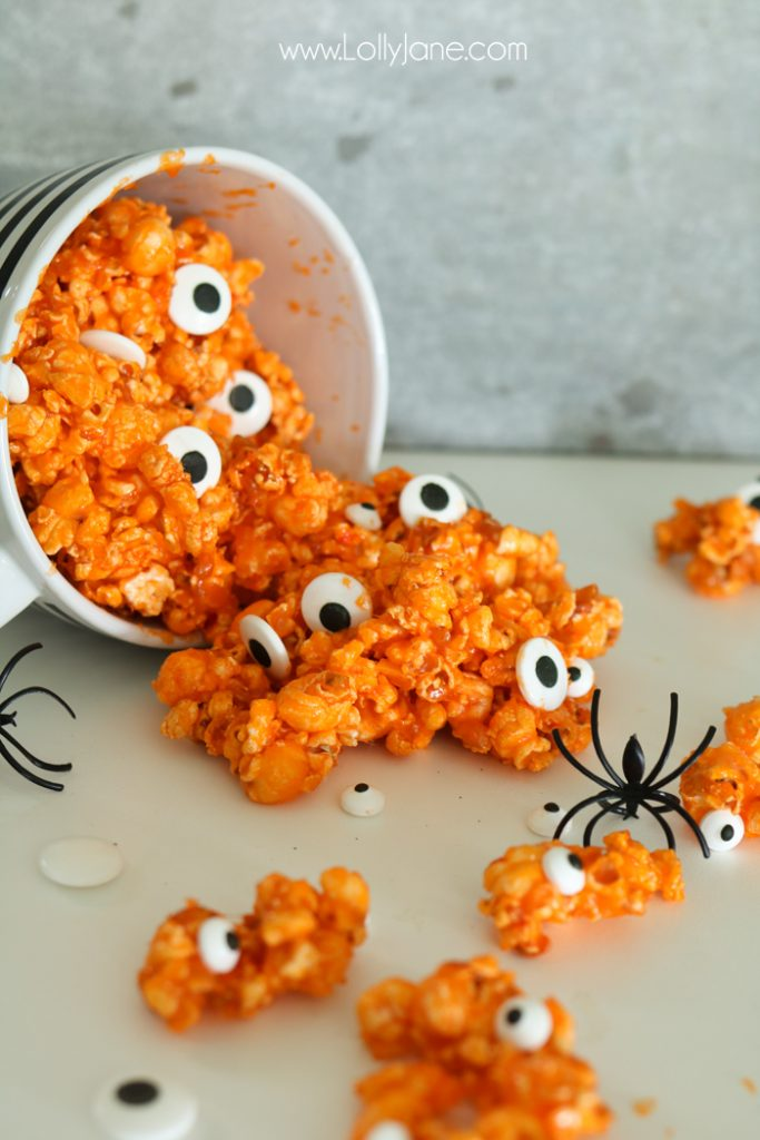 Candied Eyeball Halloween popcorn - Lolly Jane
