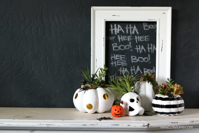 DIY Halloween Pumpkin Succulent Planters. These FAUX pumpkins + succulents are low maintenance and hassle free on your festive mantel or porch! CUTE!!!