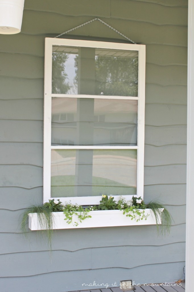 Love this vintage window turned flower box idea! Great DIY home decor project!