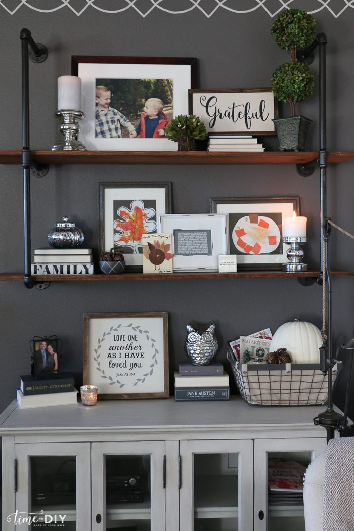 Pretty fall home tour, love these shelves!