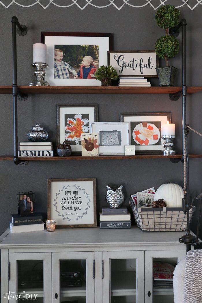 Pretty fall home tour, love these shelves!