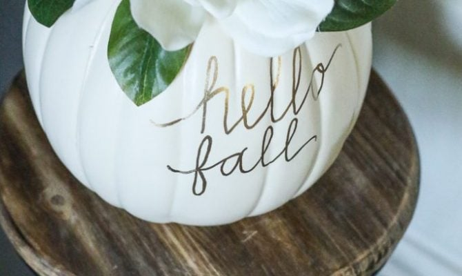 DIY Faux Magnolia Pumpkin | Such a cute fall pumpkin home decor craft! Love this hello fall pumpkin decor! Cute fall decor!DIY Faux Magnolia Pumpkin | Such a cute fall pumpkin home decor craft! Love this hello fall pumpkin decor! Cute fall decor!
