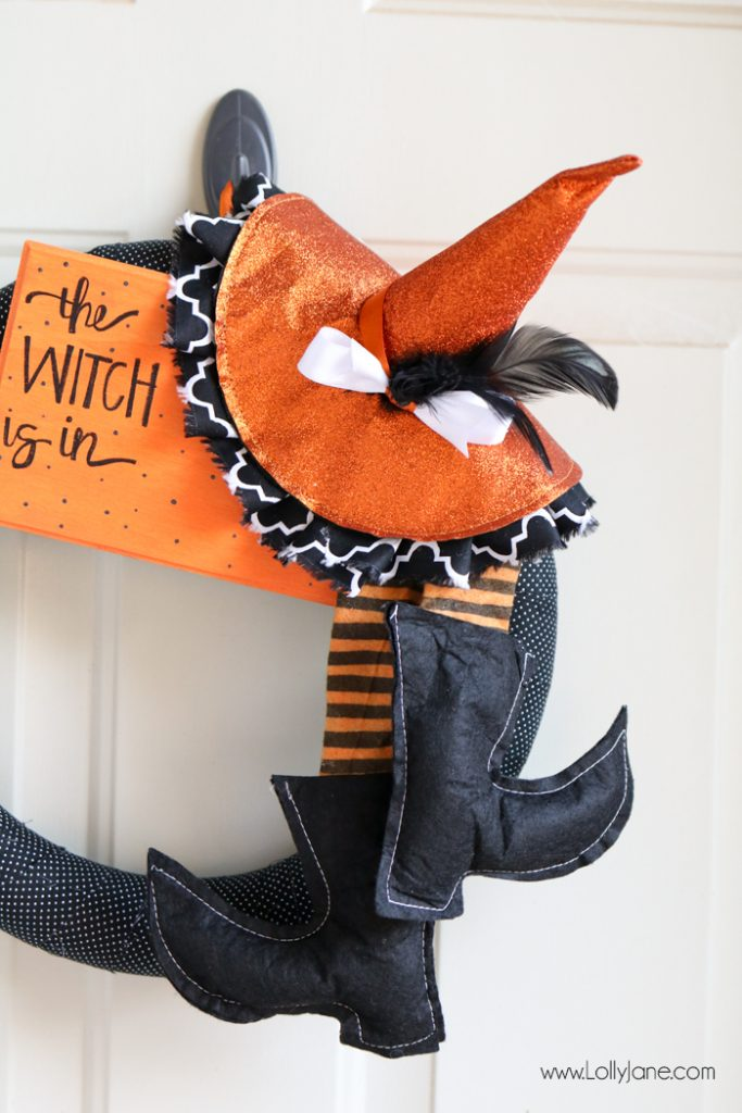 "Super cute and EASY fabric wrapped Halloween witch wreath. Love the handmade sign ""The Witch is In!"""