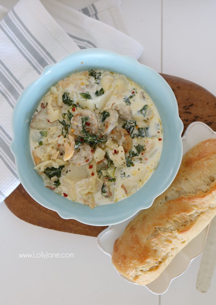 Easy Chicken Sausage Potato Soup, perfect for fall or chilly nights. Thick and creamy, awesome crowd pleaser!