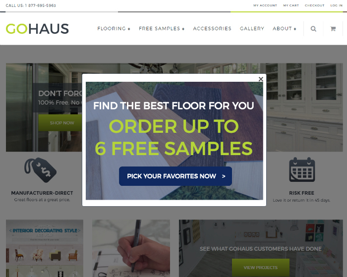 GoHaus free flooring samples. Choose from tile, hardwood or vinyl planks! Durable and affordable!