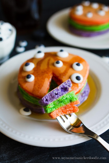 Halloween theme Trick or Treat pancakes. Such a fun kids Halloween breakfast!