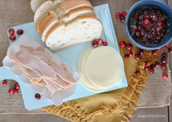 Melt-in-your-mouth Cranberry Turkey Grilled Cheese Sandwich, great way to use Thanksgiving leftovers!